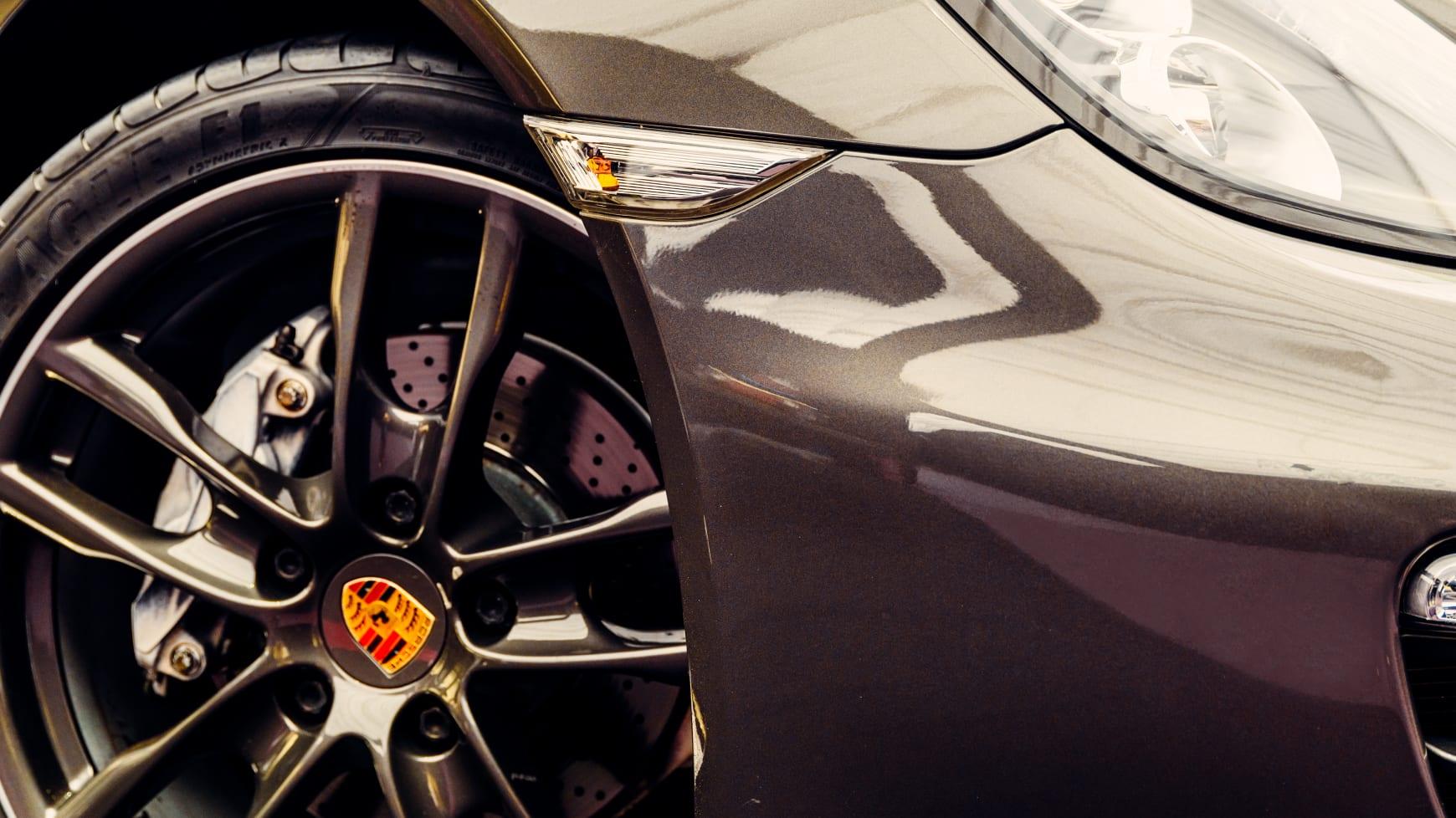 Closeup of an Ultra High Performance Tire on a Porsche