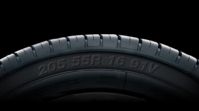 Original Equipment Tire Sidewall with Size Information
